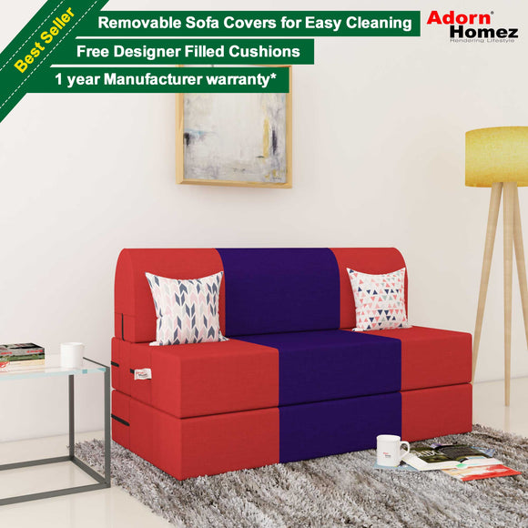 Dolphin Zeal 2 Seater Sofa Bed-Red & Purple- 4ft x 6ft with Free micro fiber Designer cushions