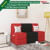 Dolphin Zeal 2 Seater Sofa Bed-Red & Black - 4ft x 6ft with Free Designer filled cushions