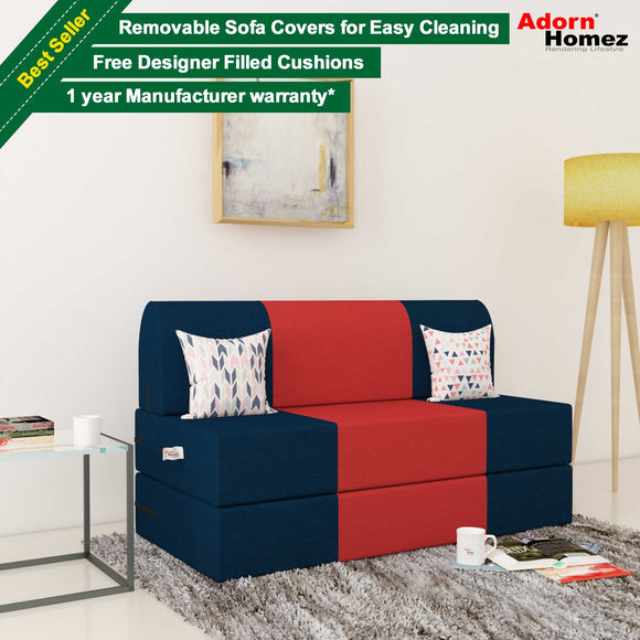 Dolphin Zeal 2 Seater Sofa Bed-N.Blue & Red- 4ft x 6ft with Free micro fiber Designer cushions