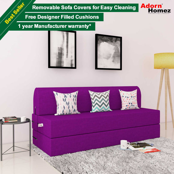 DOLPHIN ZEAL 3 SEATER SOFA CUM BED-PURPLE with Free micro fiber Designer cushions