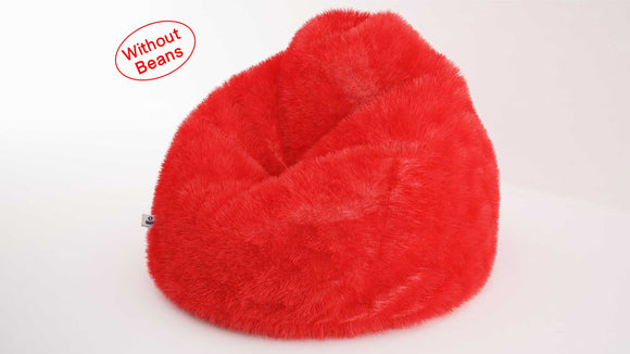 DOLPHIN JUMBO FUR BEAN BAG-RED-ARTIFICIAL(COVER)