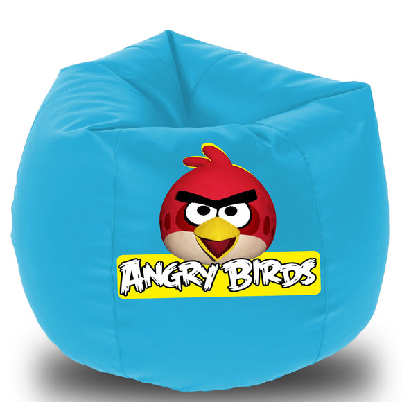 Dolphin Printed Bean Bag XXXL- Angry Bird- Filled (With Beans)
