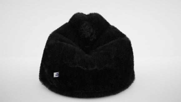 DOLPHIN XXL FUR BEAN BAG-BLACK-ARTIFICIAL(With Beans)