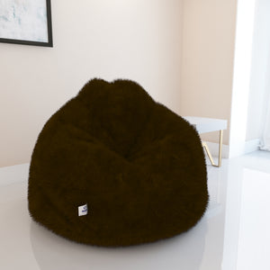 DOLPHIN XXL FUR BEAN BAG-BROWN-ARTIFICIAL (WITH BEAN)