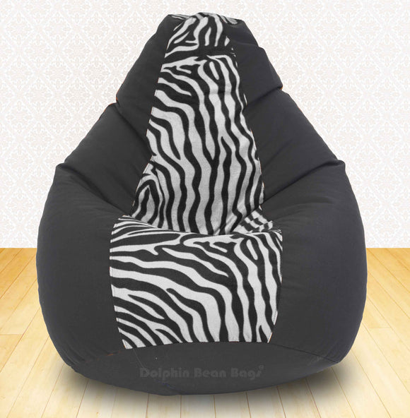 DOLPHIN XXXL Black/Zebra(Blk-White)-FABRIC-FILLED(with Beans)