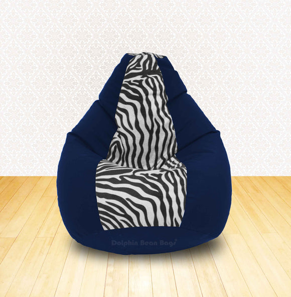 DOLPHIN XL N.Blue/Zebra(Blk-White)-FABRIC-FILLED & WASHABLE (with Beans)