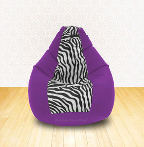 DOLPHIN XL Purple/Zebra(Blk-White)-FABRIC-FILLED & WASHABLE (with Beans)