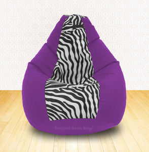 DOLPHIN XXL Purple/Zebra(Blk-White)-FABRIC-FILLED & WASHABLE (with Beans)