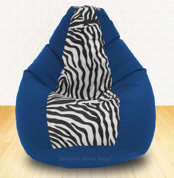 DOLPHIN XXXL R.Blue/Zebra(Blk-White)-FABRIC-FILLED & WASHABLE (with Beans)