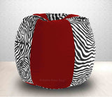 DOLPHIN XXL Red/Zebra(Blk-White)-FABRIC-FILLED & WASHABLE (with Beans)