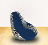 DOLPHIN XL R.Blue/Zebra(Blk-White)-FABRIC-FILLED & WASHABLE (with Beans)