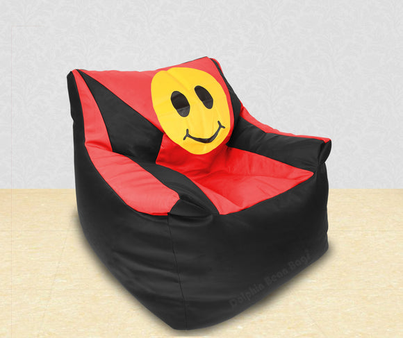 DOLPHIN XXL Beany Chair-Smiley Black/Red-Filled (With Beans)