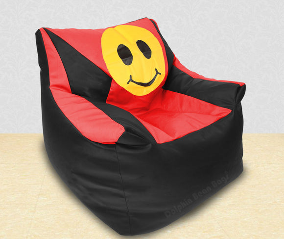 DOLPHIN XXXL Beany Chair-Smiley Black/Red-Filled (With Beans)