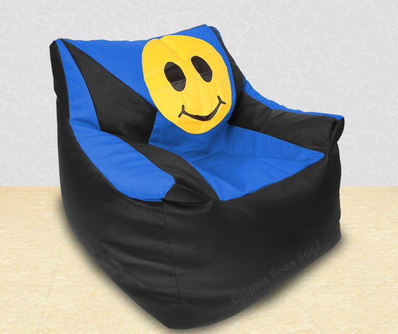 DOLPHIN XXXL Beany Chair-Smiley Black/R.Blue-Filled (With Beans)