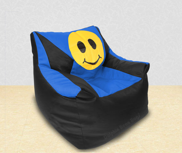 DOLPHIN XXL Beany Chair-Smiley Black/R.Blue-Filled (With Beans)