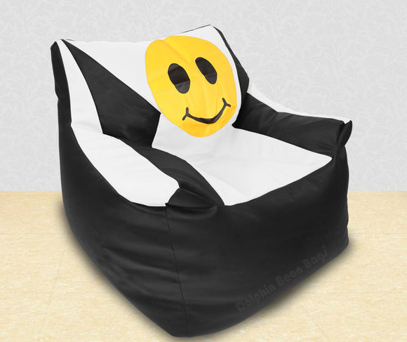 DOLPHIN XXXL Beany Chair-Smiley Black/White-Filled (With Beans)