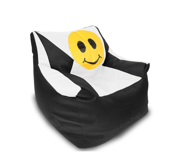DOLPHIN XXL Beany Chair-Smiley Black/White-Filled (With Beans)