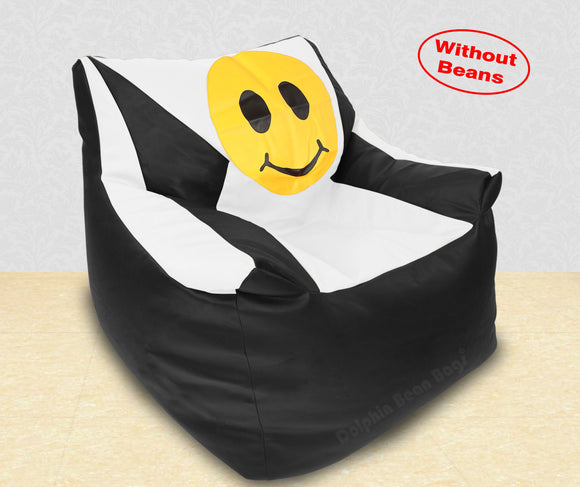 DOLPHIN XXXL Beany Chair-Smiley Black/White-Cover (Without Beans)