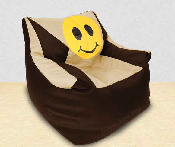 DOLPHIN XXXL Beany Chair-Smiley Brown/Beige-Filled (With Beans)