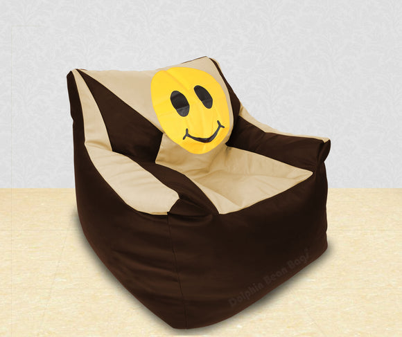 DOLPHIN XXL Beany Chair-Smiley Brown/Beige-Filled (With Beans)