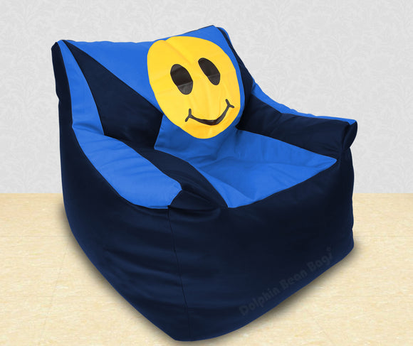 DOLPHIN XXXL Beany Chair-Smiley N.Blue/R.Blue-Filled (With Beans)