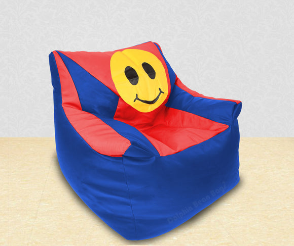 DOLPHIN XXL Beany Chair-Smiley R.Blue/Red-Filled (With Beans)