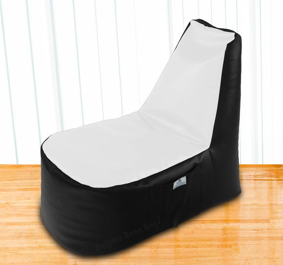 DOLPHIN XXL Boot Shape Recliner Black/White-Filled (With Beans)