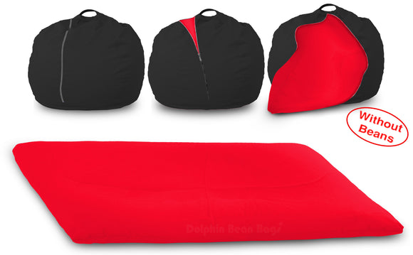 DOLPHIN FATBOY Bean Bag with Multi Use-Black/Red-Cover (without Beans)