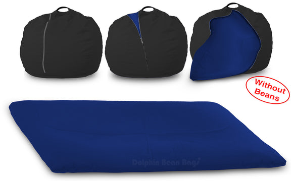 DOLPHIN FATBOY Bean Bag with Multi Use-Black/N.Blue-Cover (without Beans)