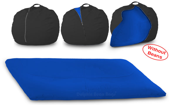 DOLPHIN FATBOY Bean Bag with Multi Use-Black/R.Blue-Cover (without Beans)