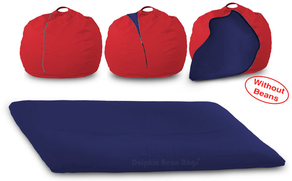 DOLPHIN FATBOY Bean Bag with Multi Use-Red/N.Blue-Cover (without Beans)