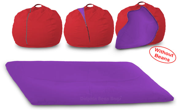 DOLPHIN FATBOY Bean Bag with Multi Use-Red/Purple-Cover (without Beans)