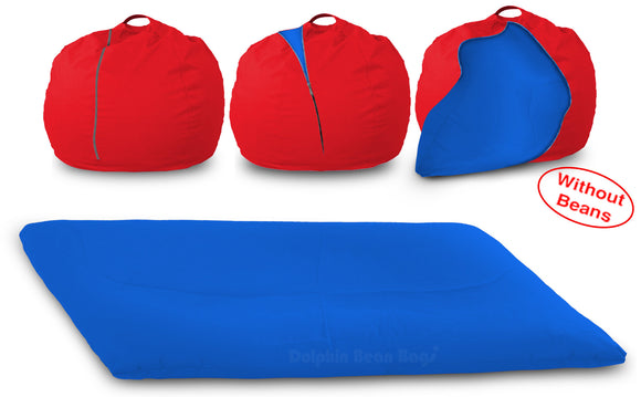DOLPHIN FATBOY Bean Bag with Multi Use-Red/R.Blue-Cover (without Beans)