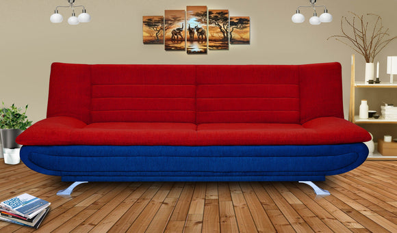 Dolphin Elite Modular Sofa Cum Bed 3- Seater-(Fabric) -Red/R.Blue