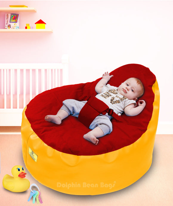 Dolphin Baby Holder Bean Bag Yellow/Red-Filled (With Beans)