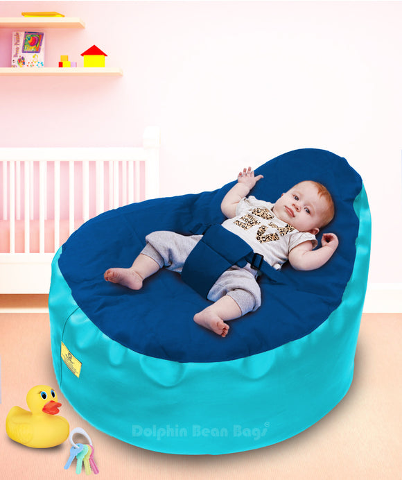 Dolphin Baby Holder Bean Bag Turquoise/R.Blue -Filled (With Beans)