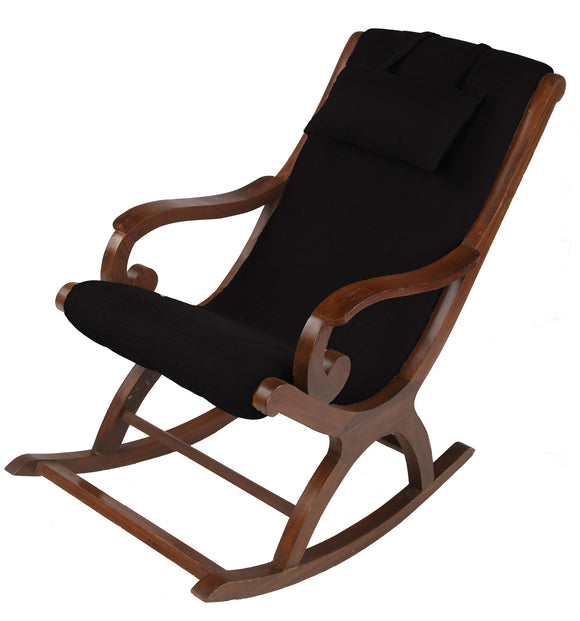 DOLPHIN ROCKING CHAIR WITH CUSHIONS-BLACK