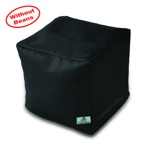 DOLPHIN SQUARE PUFFY BEAN BAG-BLACK-COVER (Without Beans)