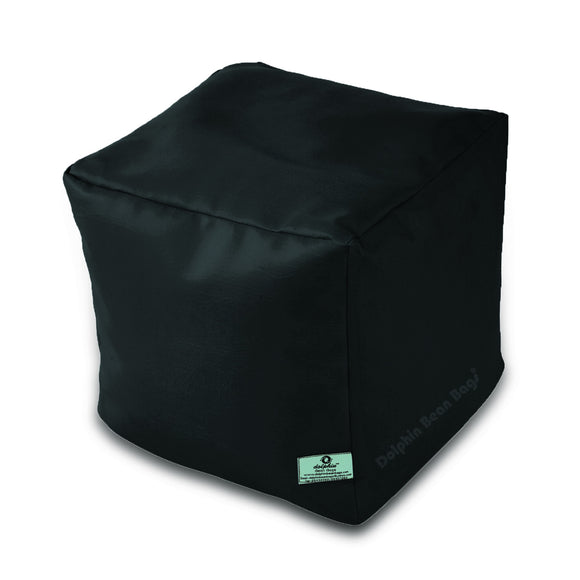 DOLPHIN SQUARE PUFFY BEAN BAG-BLACK-FILLED (With Beans)