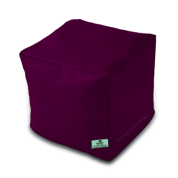 DOLPHIN SQUARE PUFFY BEAN BAG-MAROON-FILLED (With Beans)