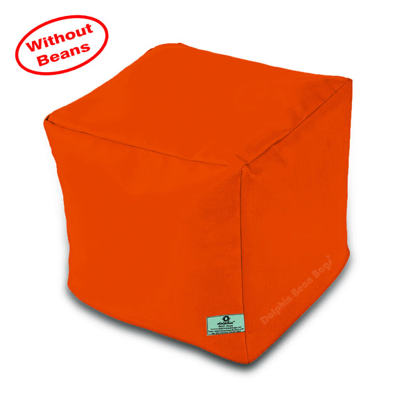DOLPHIN SQUARE PUFFY BEAN BAG-ORANGE-COVER (Without Beans)