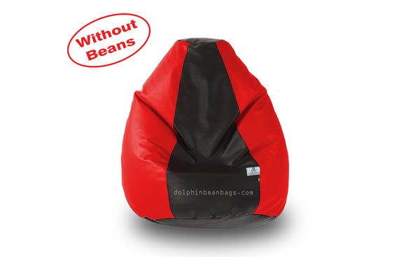 DOLPHIN S Regular BEAN BAG-Black/Red-COVER (Without Beans)