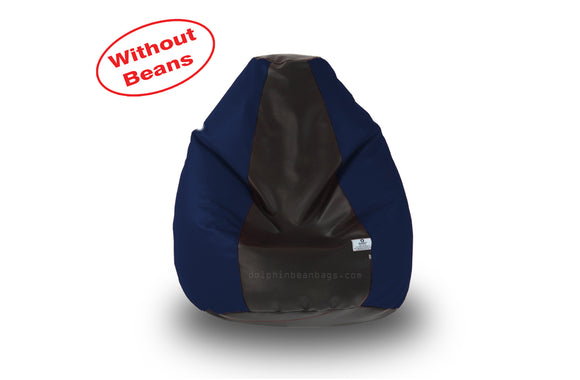 DOLPHIN S Regular BEAN BAG-Black/N.Blue-COVER (Without Beans)