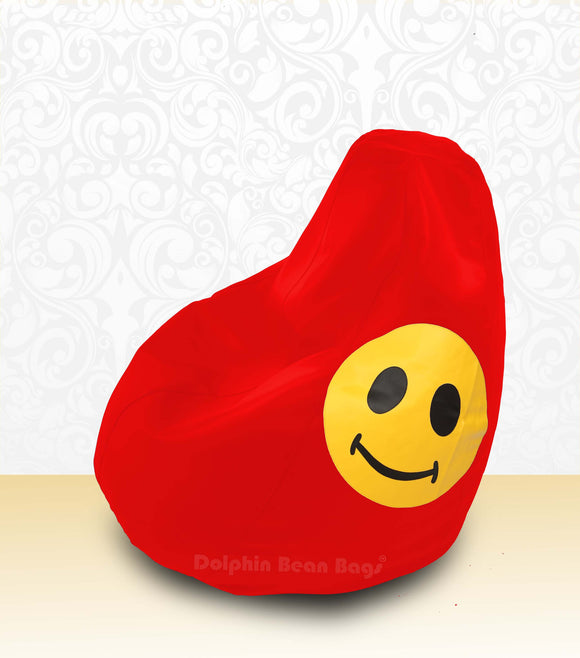 DOLPHIN XL Bean Bag Red-Smiley-FILLED (with Beans)