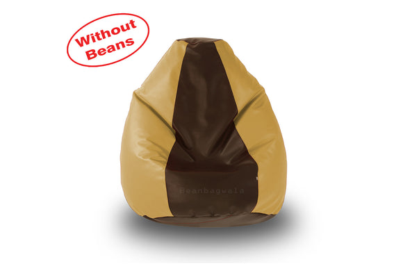 DOLPHIN L BEAN BAG-Brown/Beige-COVER (Without Beans)