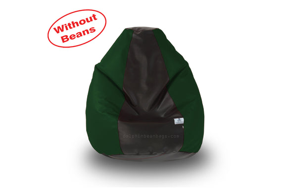 DOLPHIN M Regular BEAN BAG-Black/B.Green-COVER (Without Beans)