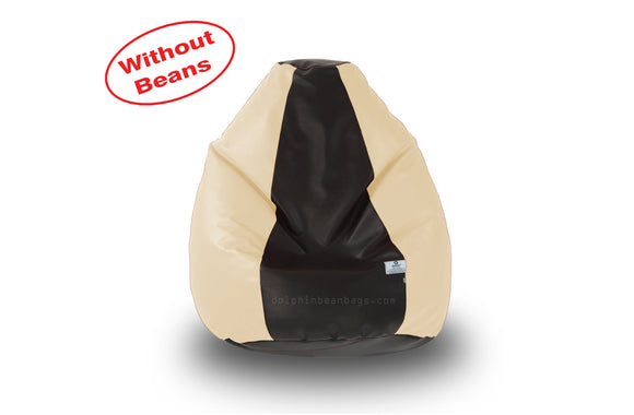 DOLPHIN M Regular BEAN BAG-Black/Fawn-COVER (Without Beans)