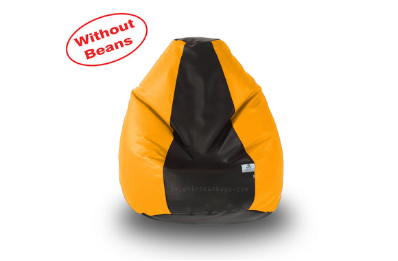 DOLPHIN M Regular BEAN BAG-Black/Yellow-COVER (Without Beans)