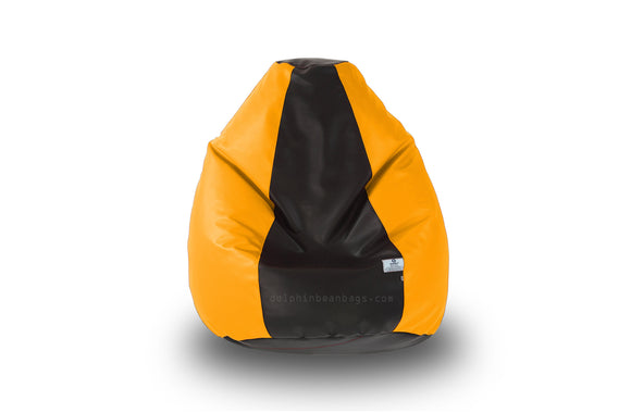 DOLPHIN Original M BEAN BAG-Black/Yellow-With Fillers/Beans