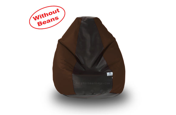 DOLPHIN S Regular BEAN BAG-Black/Brown-COVER (Without Beans)